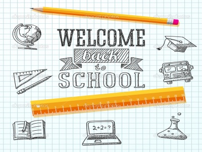 Welcome back to school message on paper. With drawings - globe, notebook, text book, graduation cap, bus, science bulb, pencil, ruler. Vector